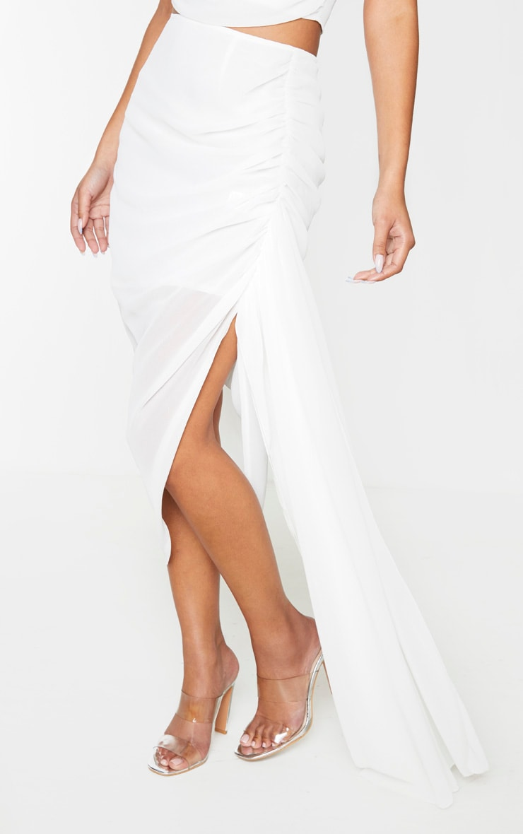 White Woven Ruched Side Panel Midi Skirt 2