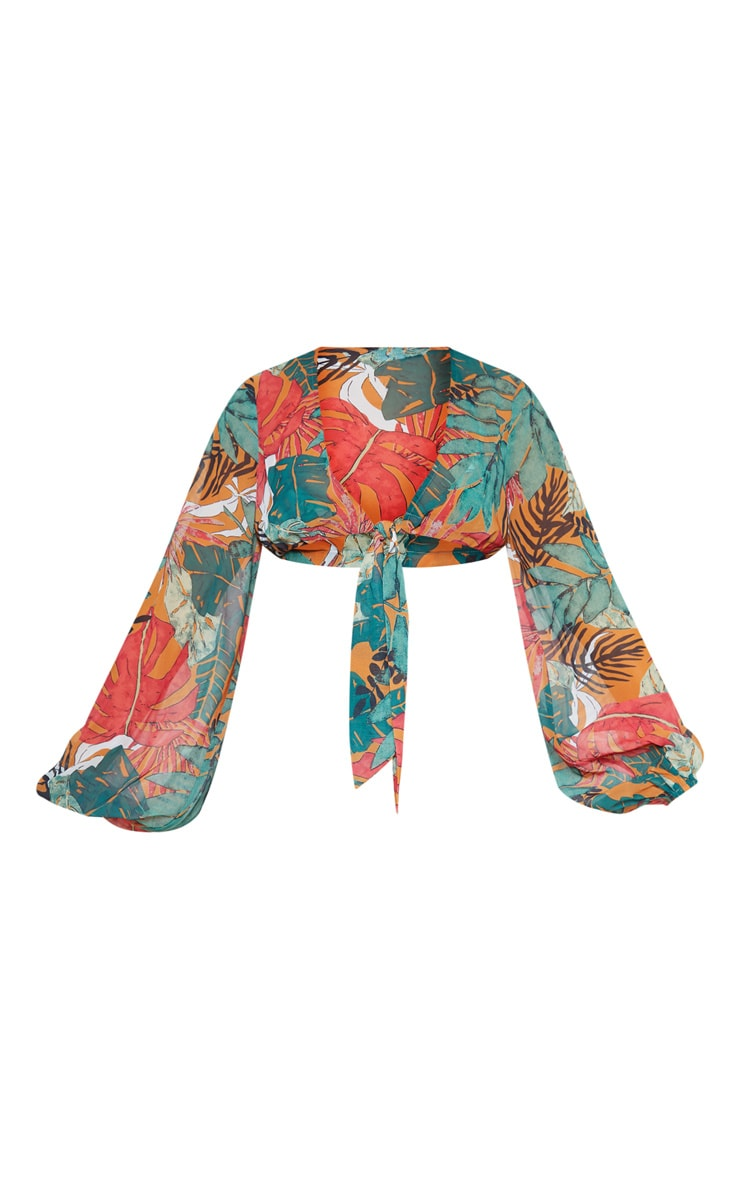 Orange Big Leaf Tie Front Beach Top 3