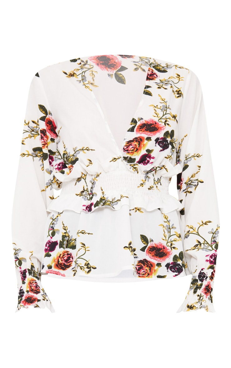 White Floral Plunge Shirred Waist Blouse  3
