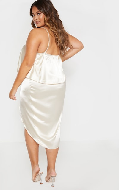 Plus Champagne Satin Frill Detail Midi Dress