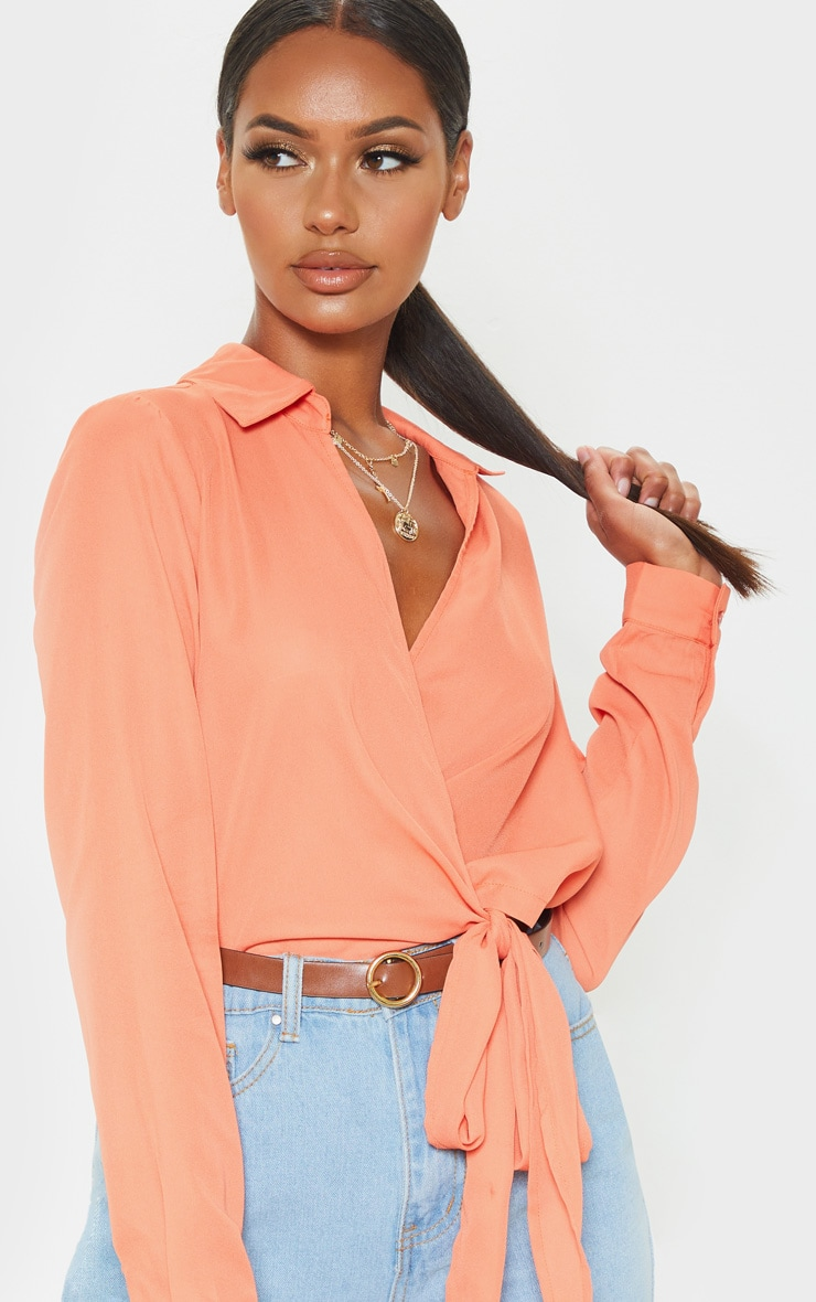 Orange Wrap Front Tie Side Blouse 5