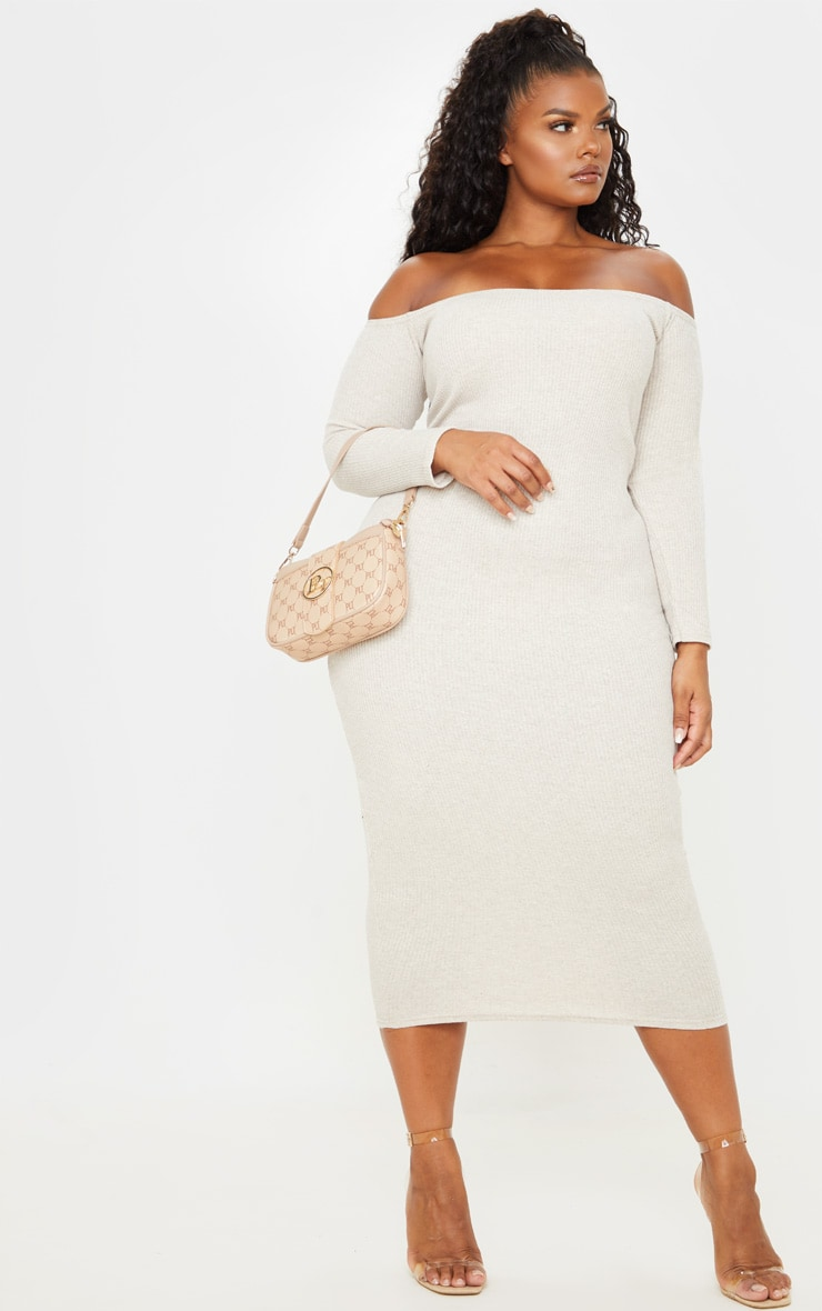 Plus Stone Ribbed Bardot Midi Dress 1