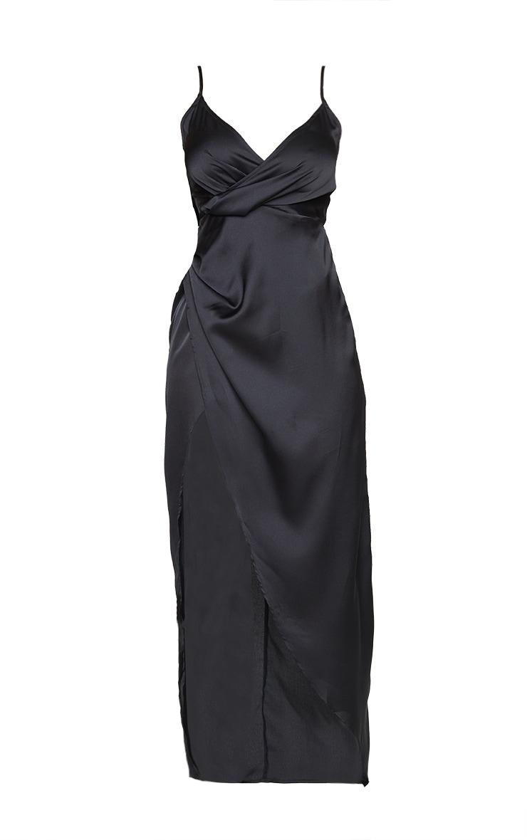 Petite Black Satin Wrap Detail Maxi Dress 6