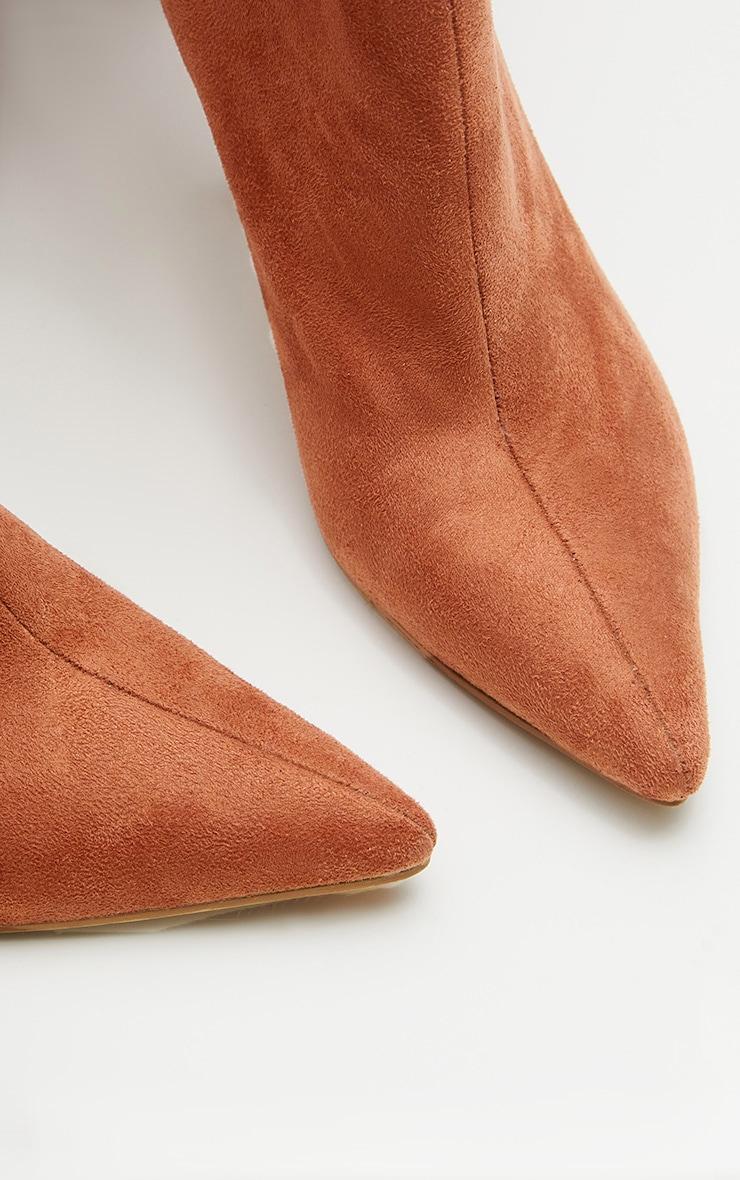 Rust Over The Knee Mid Heel Boot  3