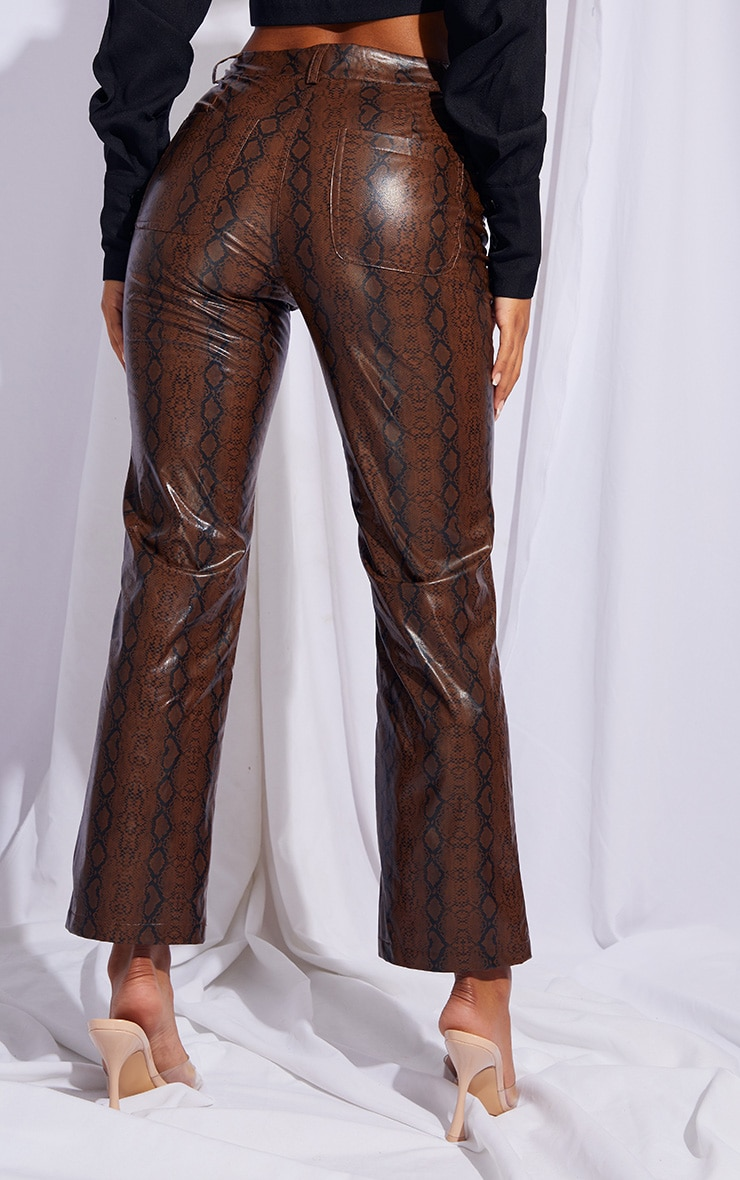 Brown Faux Leather Snake Print Cropped Straight Leg Pants 3