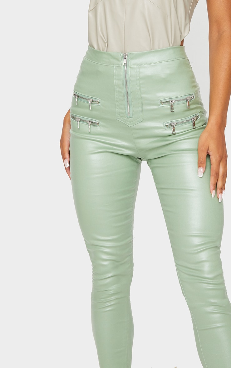 Sage Green Biker Detail Coated Skinny Jeans 4
