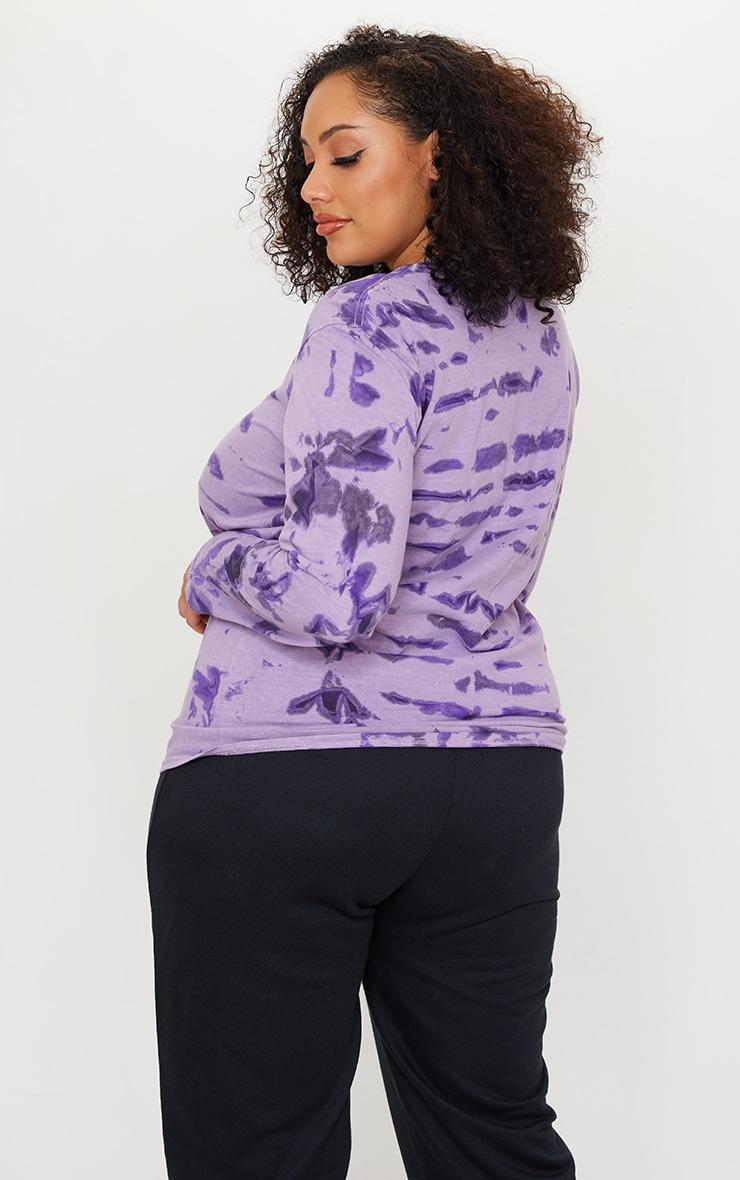 Plus Purple Tie Dye Long Sleeve Oversized T-Shirt 2