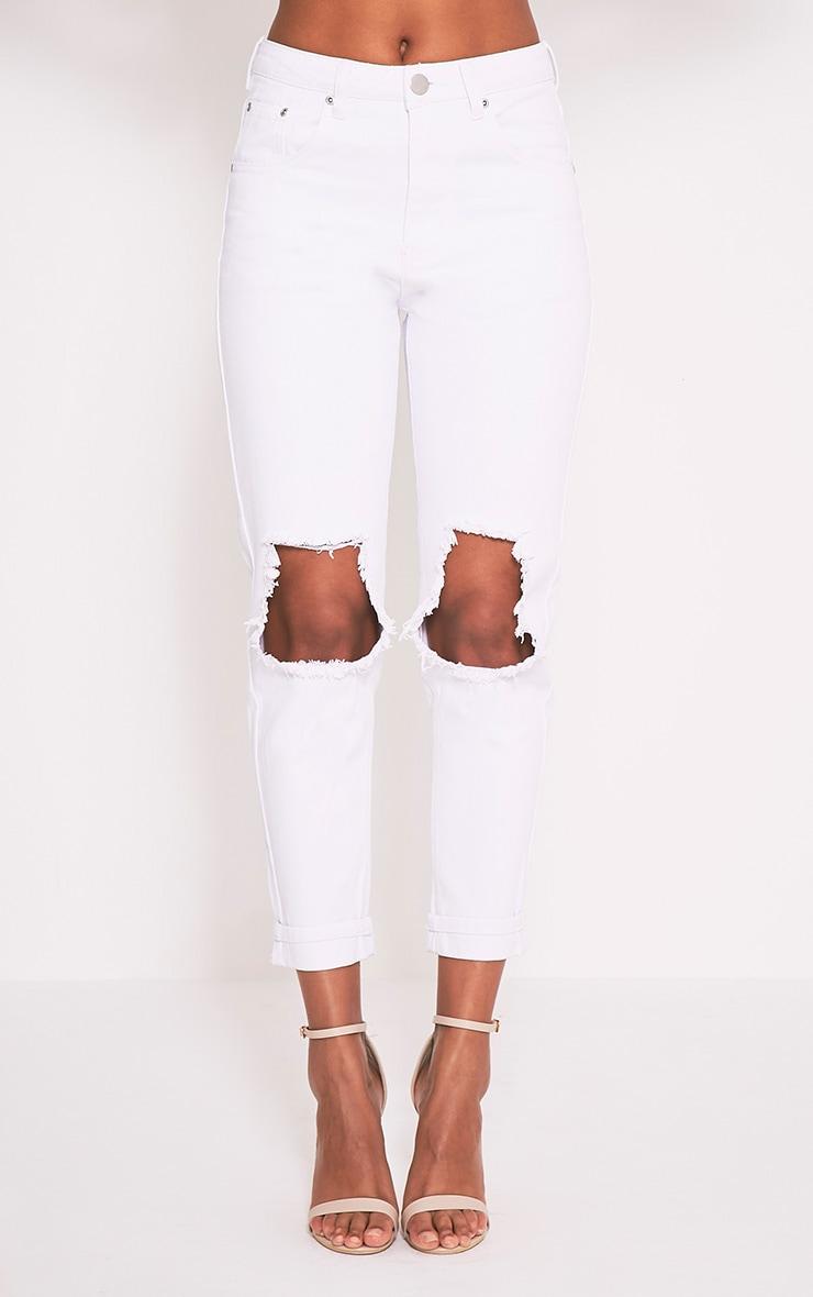 White Open Knee Rip Mom Jean 2
