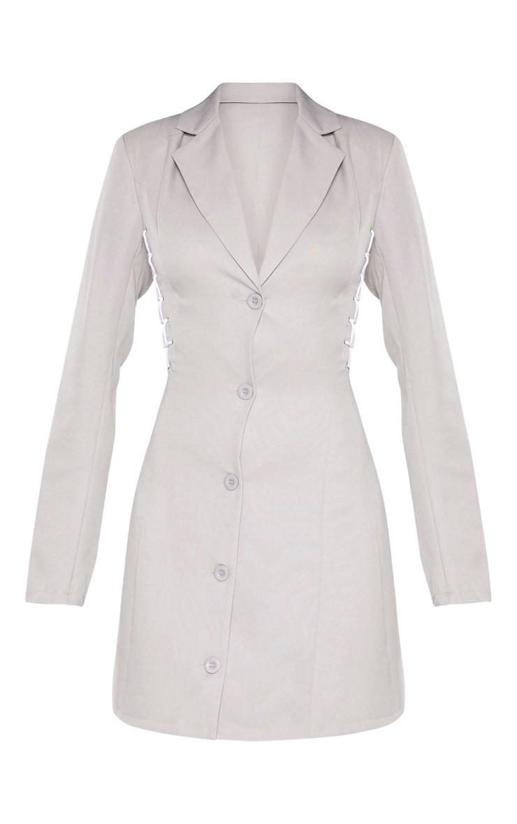 Robe blazer grise à détail lacets 3