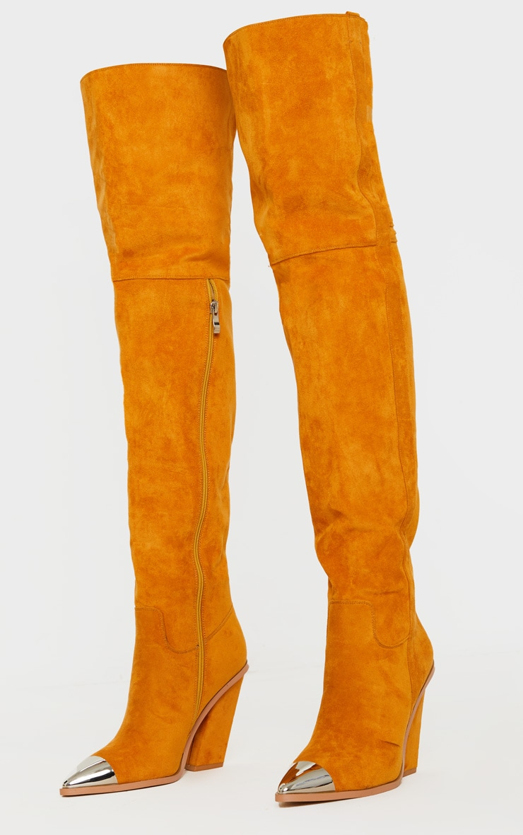 Tan Metal Toe Thigh Boot 3