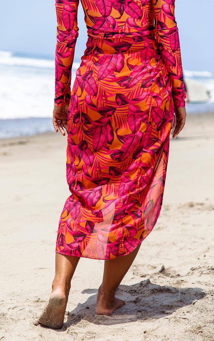 Orange Palm Leaf Midi Tie Waist Sarong 3