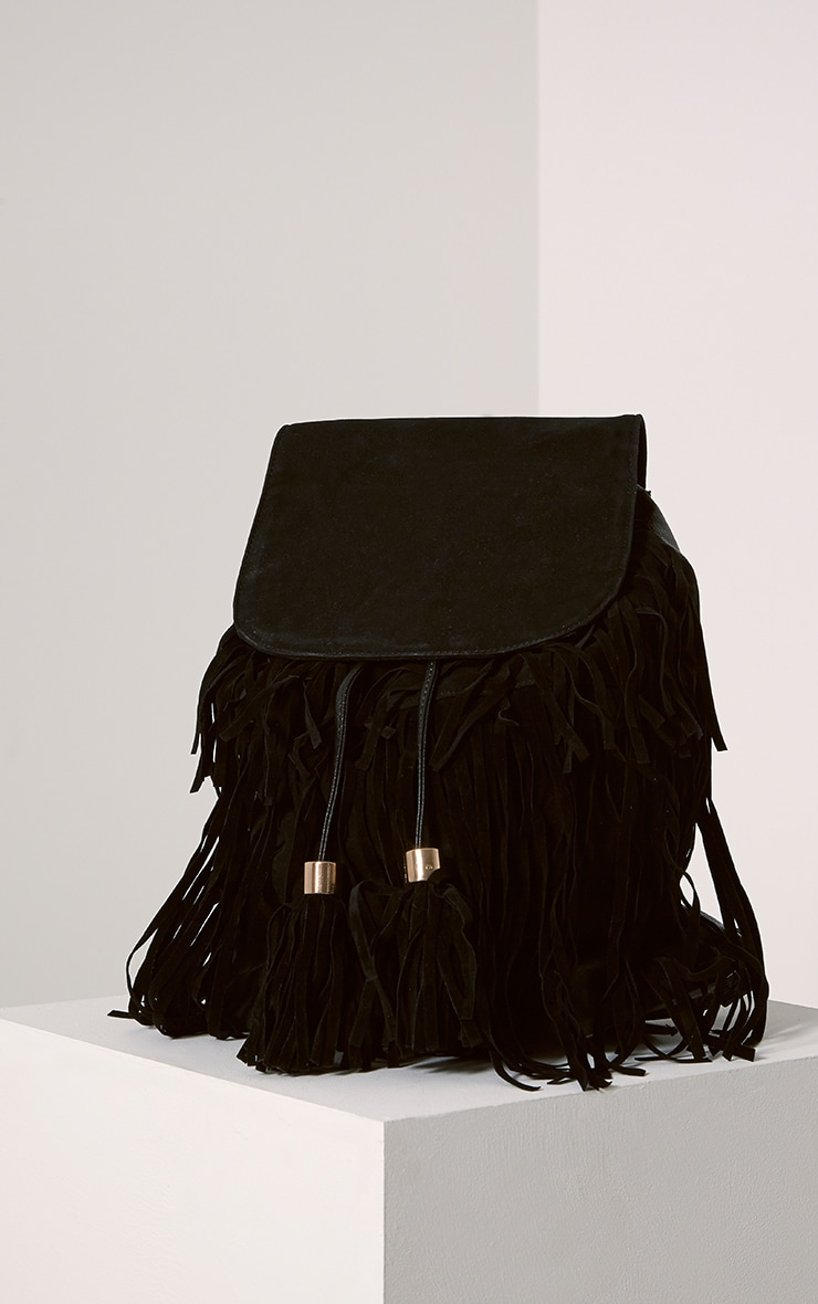 Narina Black Suede Tassel Backpack 1