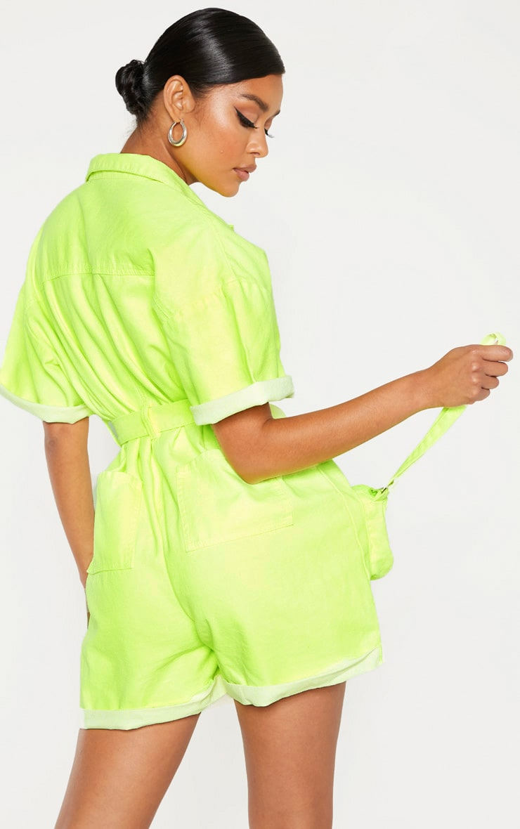 Neon Lime Playsuit With Pencil Pockets 2