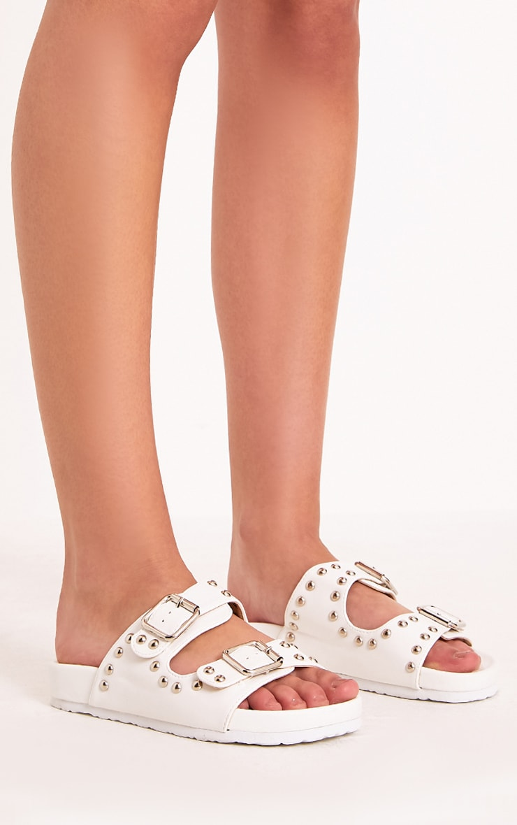 Philipa White Studded Strap  Sliders 3