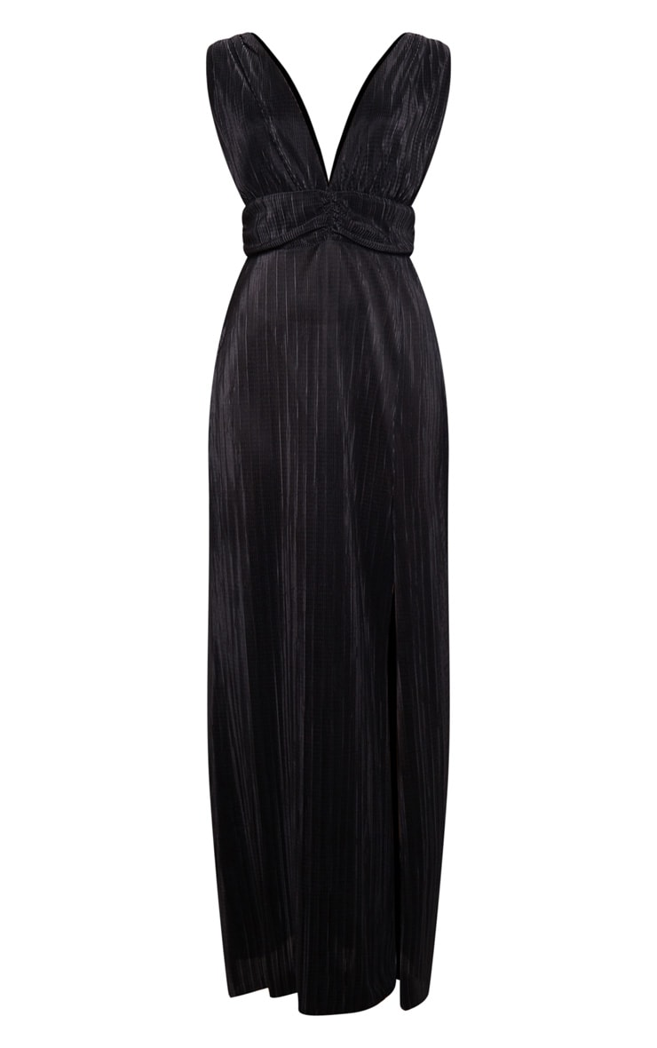 Black Plisse Plunge Ruched Detail Maxi Dress 3