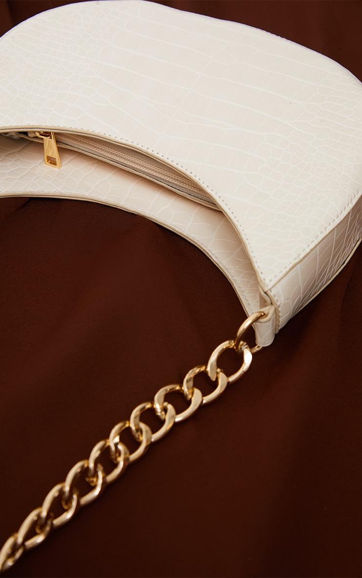 Cream Croc Crescent Mixed Chain Strap Shoulder Bag 3