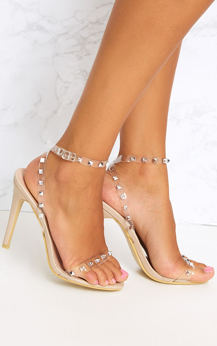c90ff3ee851 Nude Clear Strap Studded Strappy Heels image 1