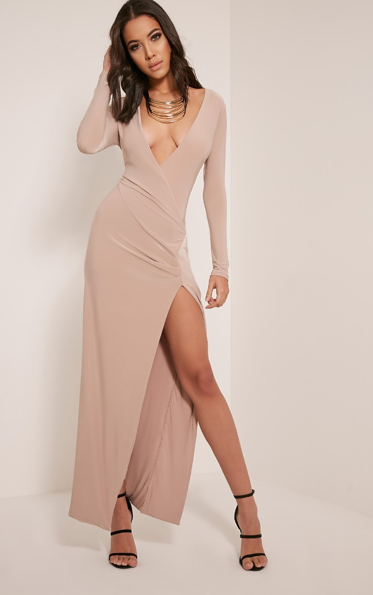 Aubreanna Stone Wrap Front Ruched Maxi Dress 1