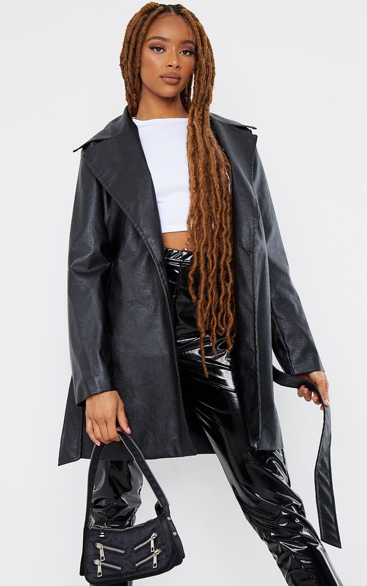 Black PU Detachable Faux Fur Mini Trench 4