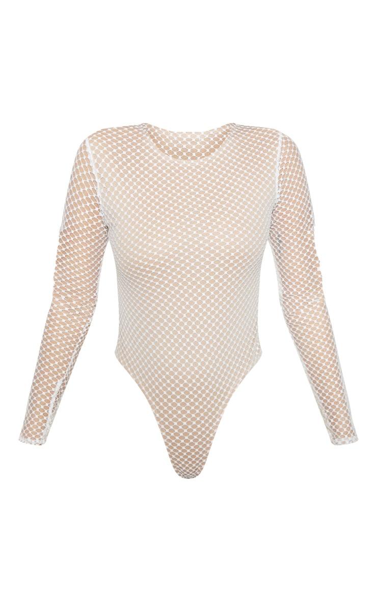 Cream Fishnet High Leg Bodysuit  3