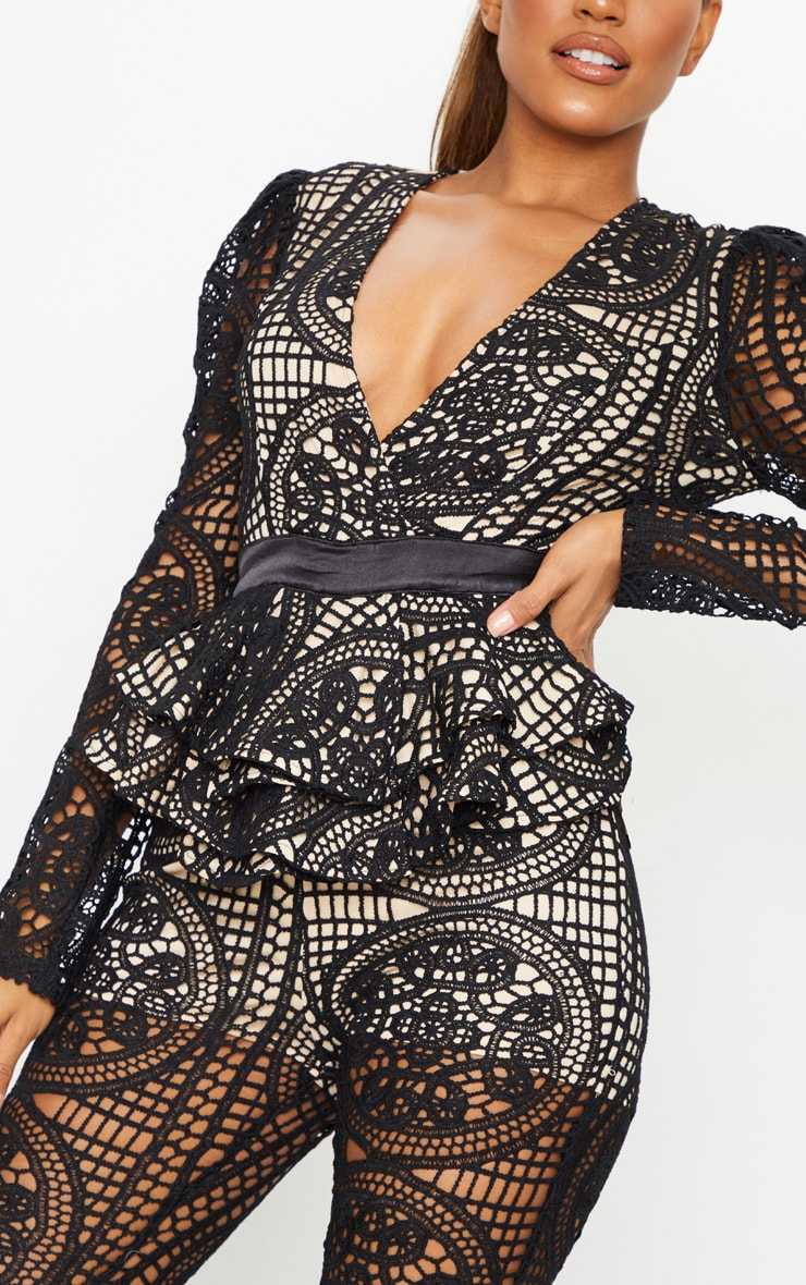 Black Lace Peplum Detail Long Sleeve Jumpsuit 4