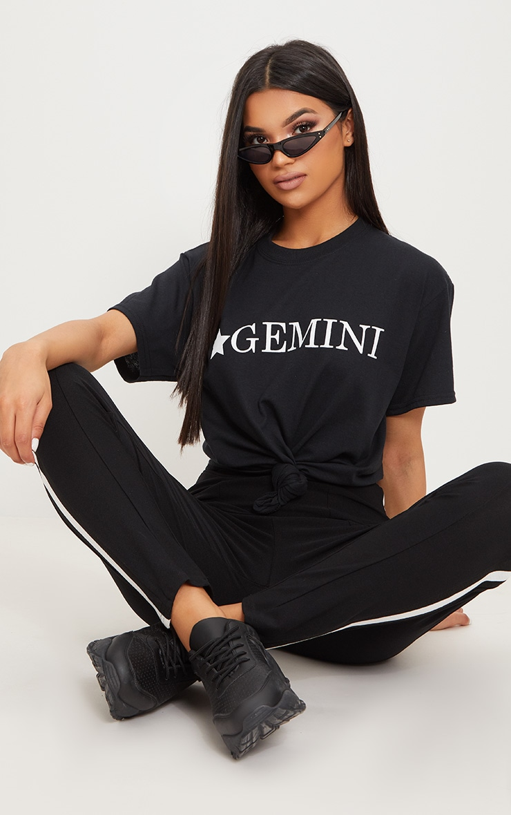 Black Gemini Star Sign Slogan Oversized T Shirt  1