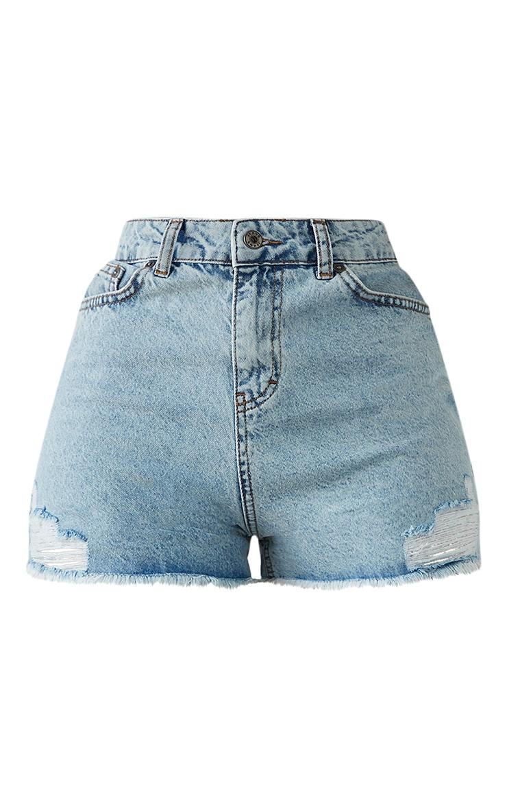PRETTYLITTLETHING Shape Acid Blue Wash Ripped Pocket Denim Shorts 6