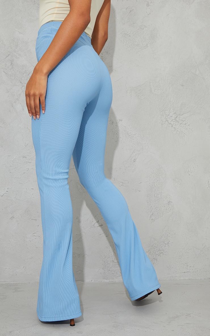 Dusty Blue Power Rib Split Hem Trousers 3