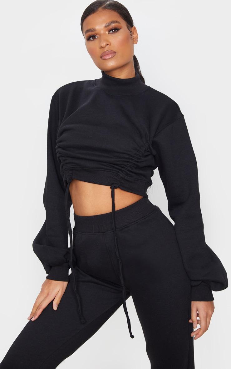Black Ruched Tie Front Crop Sweater 1