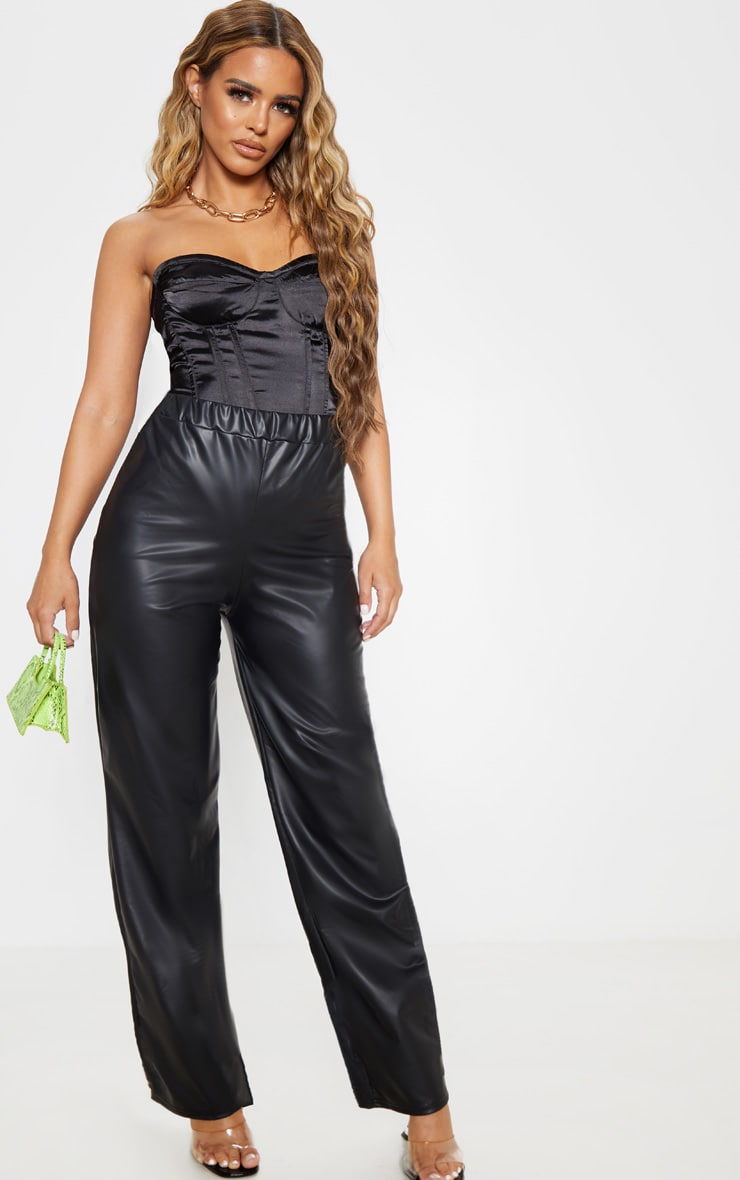 Petite Black Wide Leg PU Pants 1