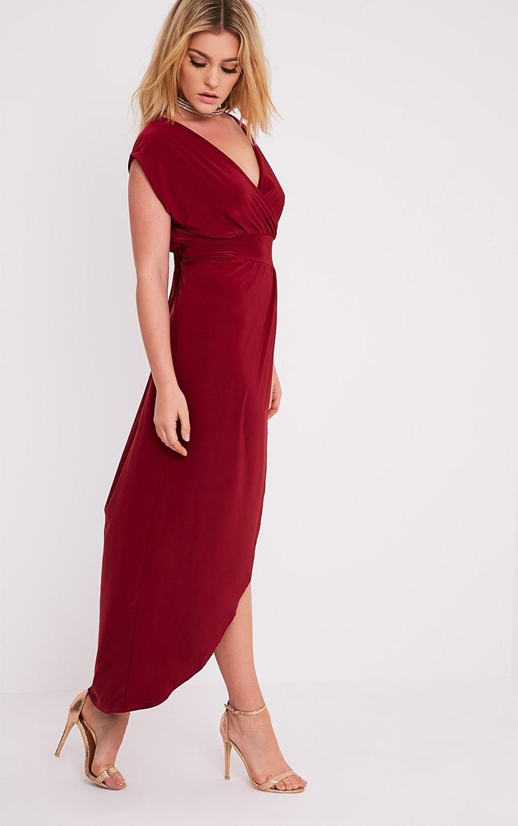 Marlisa Oxblood Slinky Plunge Maxi Dress 3