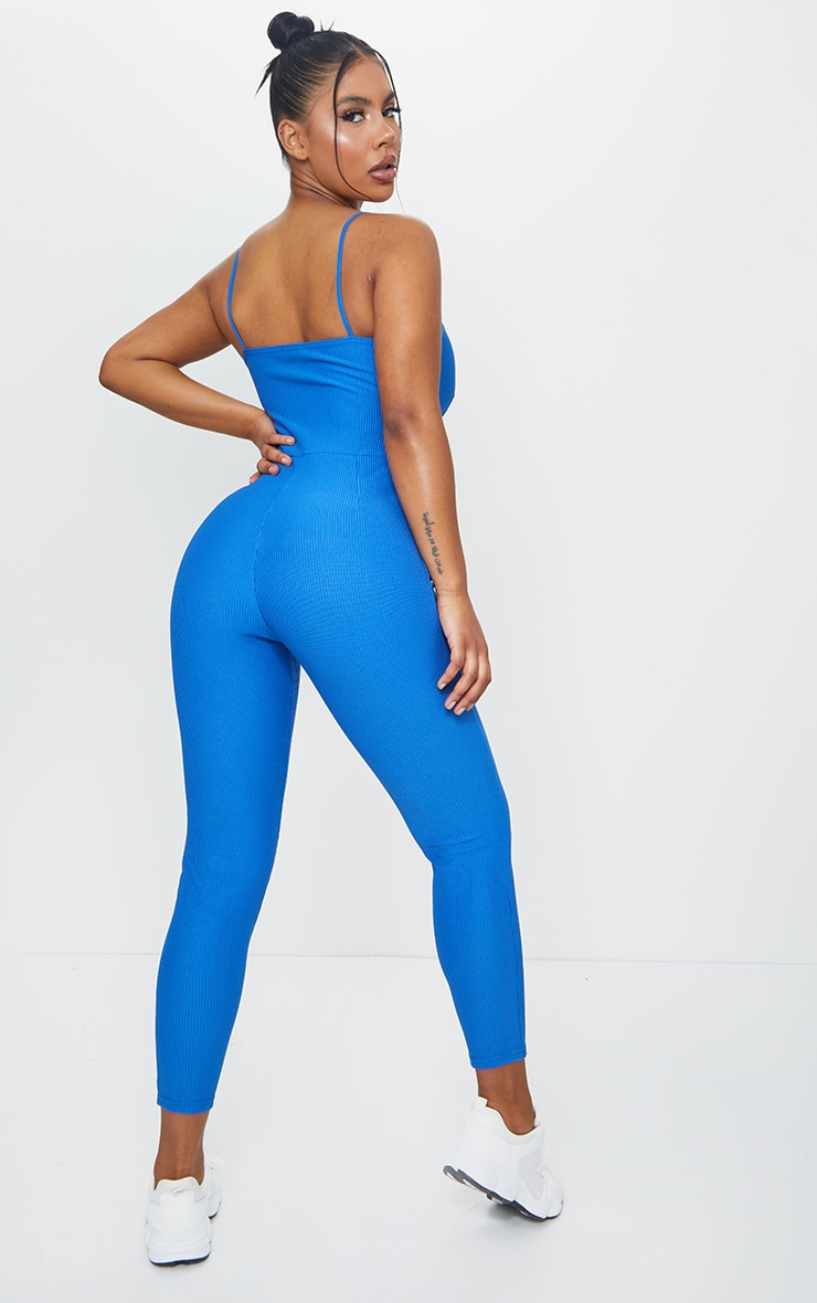 Blue Rib Plunge Binding Detail Strappy Jumpsuit 2