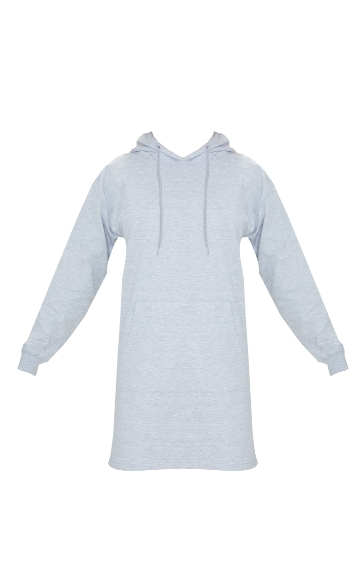 PRETTYLITTLETHING Grey Marl Print Oversized Hooded Sweat Jumper Dress 5