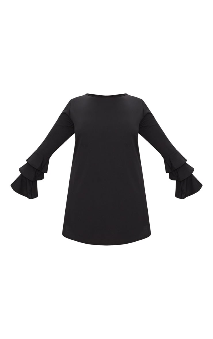 Plus Black Frill Sleeve Shift Dress 3