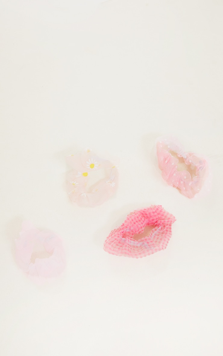 Pink Four Pack Printed Scrunchies 3