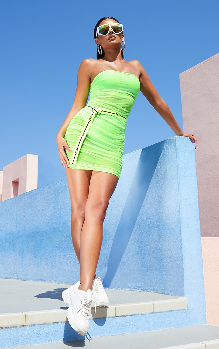 Neon Lime Ruched Mesh Dress 4