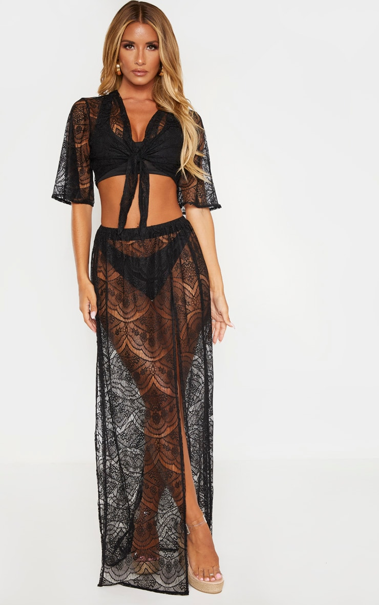 Black Lace Split Maxi Beach Skirt 1