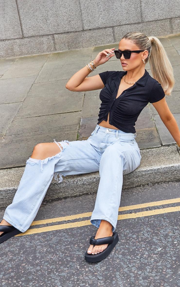 Bleach Wash Extreme Distress Loose Straight Leg Jeans