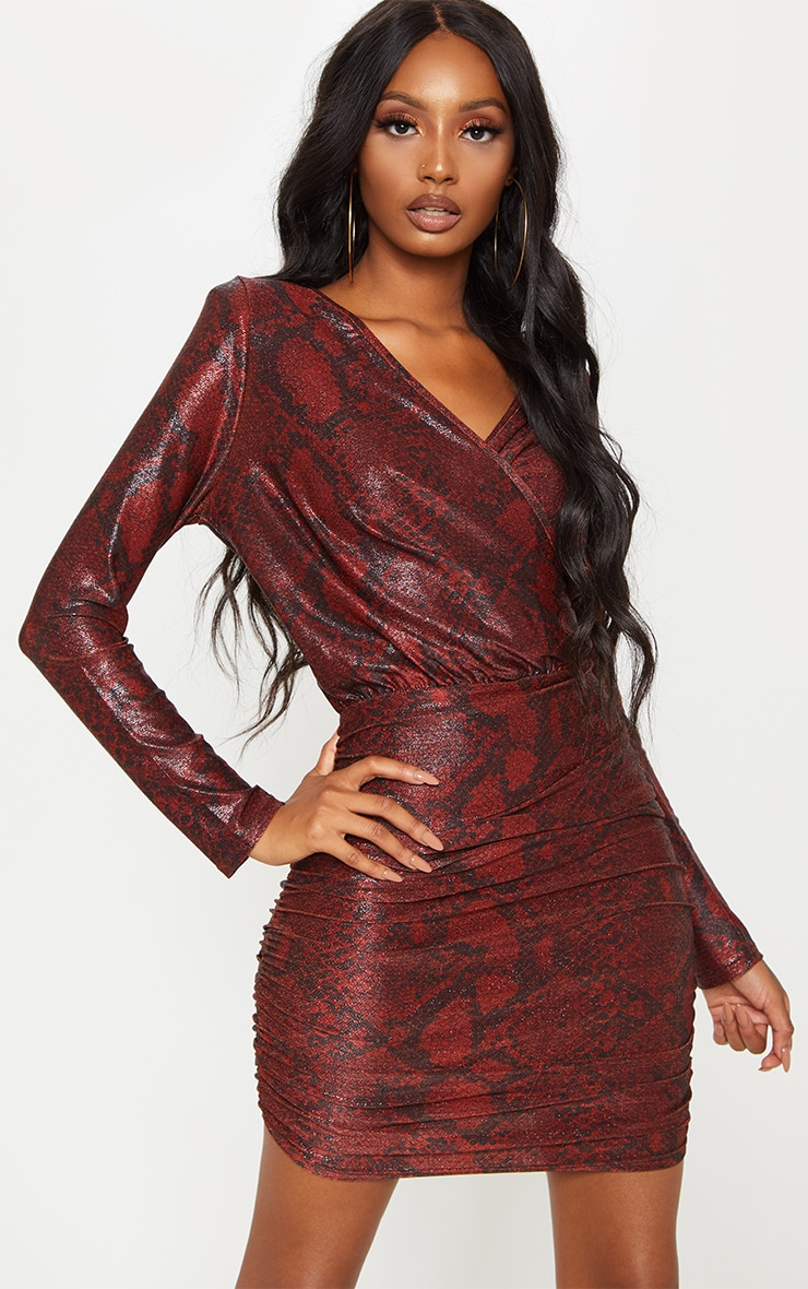 Burgundy Glitter Snake Print Ruched Shoulder Pad Bodycon Dress 1