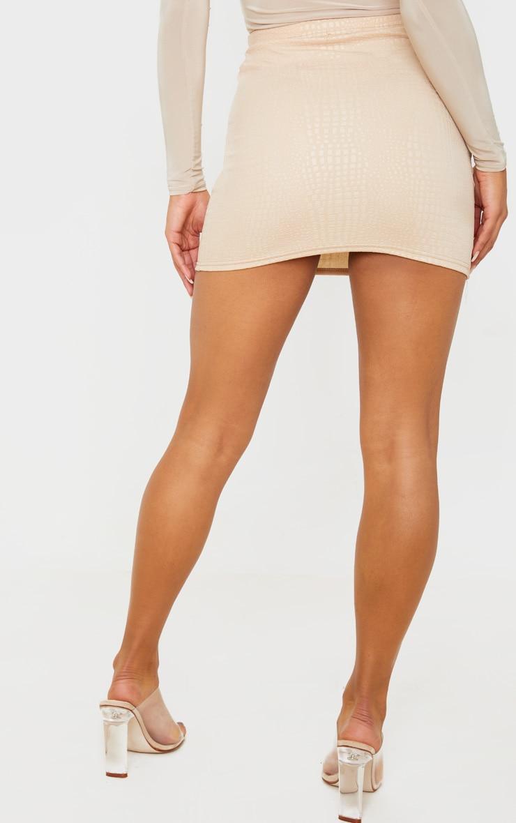 Stone Croc Print Bodycon Mini Skirt 4