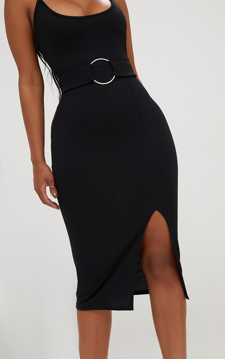 Shape Black Front Split O-Ring Midi Dress 5