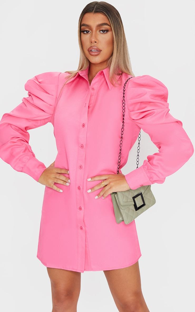 Bright Pink Puff Sleeve Shirt Dress 1