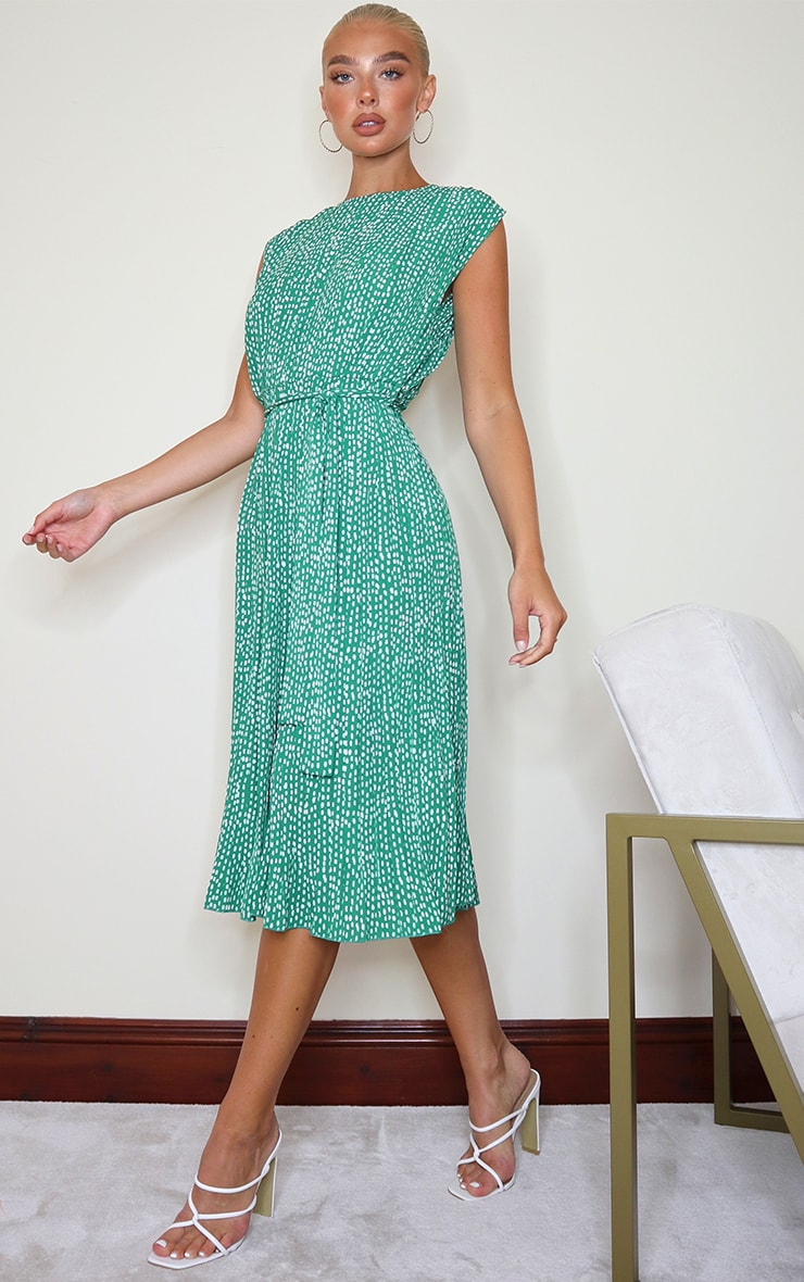 Green Dalmatian Print Pleated Sleeveless Midi Dress 3