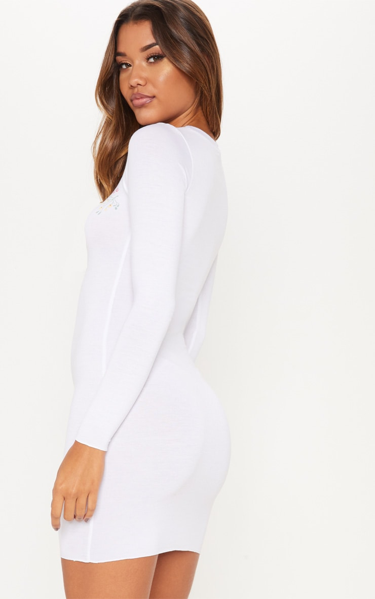 White Baby Its Cold Outside Bodycon Dress 2