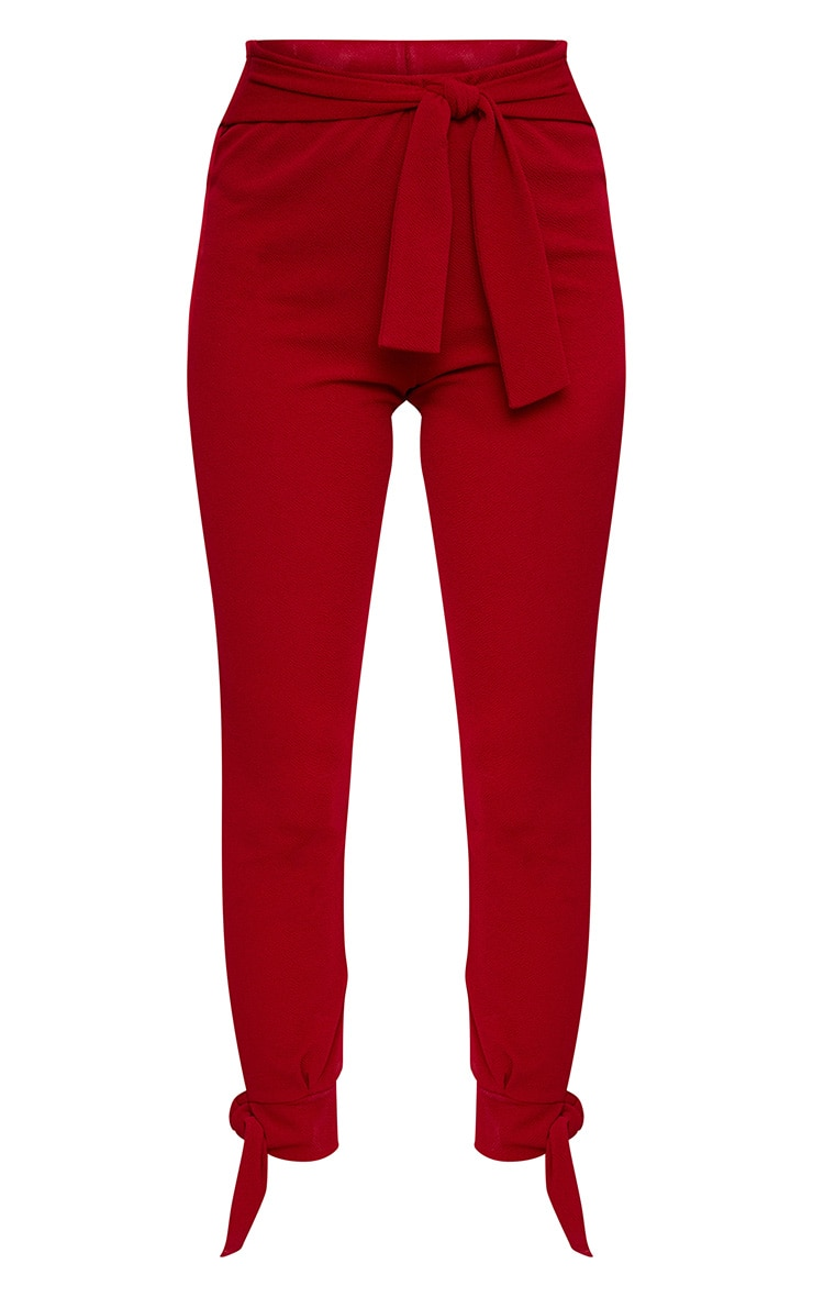 Burgundy Tie Detail Fitted Trousers 3