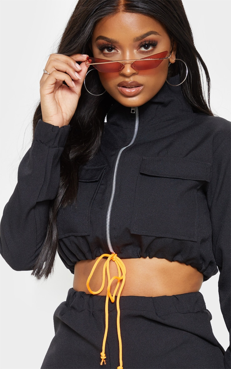 Shape Black Utility Zip Front Crop Top  5