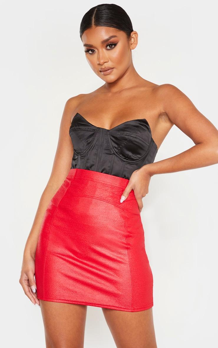 Red Textured Seam Detail Mini Skirt 1