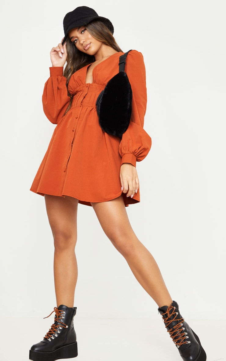 Terracotta Button Front Fitted Puff Sleeve Skater Dress 4