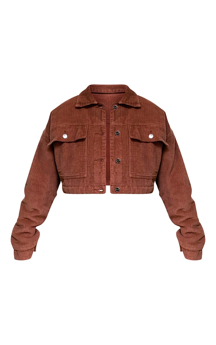 Rust Cord Borg Lined Cropped Trucker Jacket 5