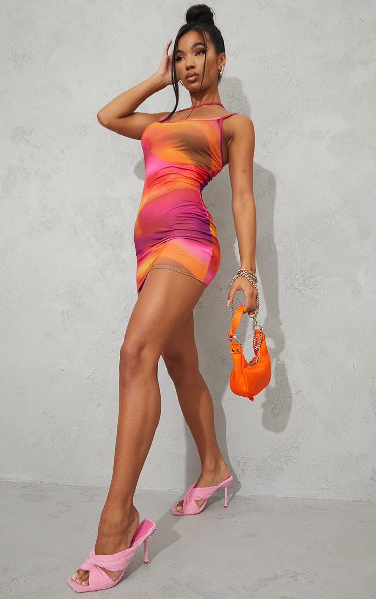 Pink Abstract Print Slinky Asymmetric Strap Detail Bodycon Dress image 1